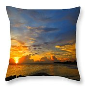Sunset In Paradise - Beach Photography By Sharon Cummings Throw Pillow by Sharon Cummings