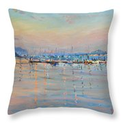 Sunset In Piermont Harbor Ny Throw Pillow by Ylli Haruni