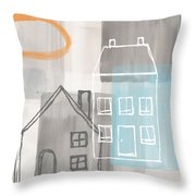 Sunset In The City Throw Pillow by Linda Woods