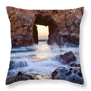 Sunset On Arch Rock In Pfeiffer Beach Big Sur California. Throw Pillow by Jamie Pham