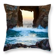 Sunset On Arch Rock In Pfeiffer Beach Big Sur. Throw Pillow by Jamie Pham