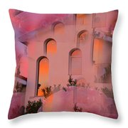 Sunset On Houses Throw Pillow by Augusta Stylianou