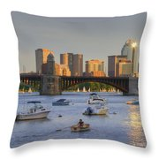 Sunset On The Charles Throw Pillow by Joann Vitali