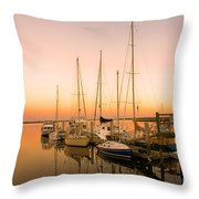 Sunset On The Dock Throw Pillow by M J Glisson