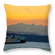 Sunset Over Olympic Mountains Throw Pillow by Dan Mihai