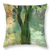 Sunset Over The Lake Bois De Boulogne Throw Pillow by Berthe Morisot