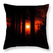 Sunset Silhouette Painterly Throw Pillow by Andee Design