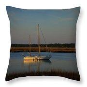 Sunset Sailboat At Beaufort Sc Throw Pillow by Reid Callaway
