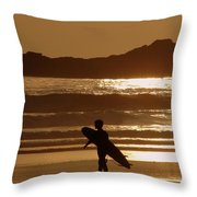Sunset Surfer Throw Pillow by Ramona Johnston