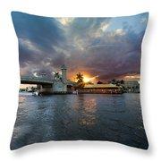 Sunset Waterway Panorama Throw Pillow by Debra and Dave Vanderlaan
