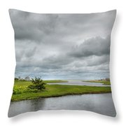 Sunshine And Heavy Clouds Over Dennisport Throw Pillow by Michelle Wiarda