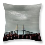 Sunshine Skyway Bridge Throw Pillow by Joseph G Holland