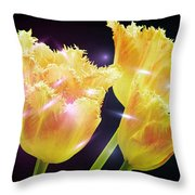 Sunshine Tulips Throw Pillow by Debra  Miller