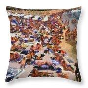 Super Paradise Beach In Mykonos Island Throw Pillow by George Atsametakis