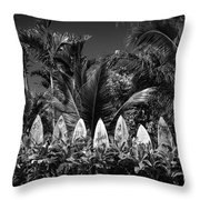 Surf Board Fence Maui Hawaii Black And White Throw Pillow by Edward Fielding