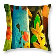 Surf Boards Throw Pillow by Wingsdomain Art and Photography
