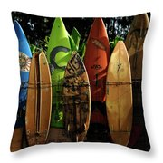 Surfboard Fence 4 Throw Pillow by Bob Christopher