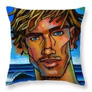 Surfer Dude Throw Pillow by Douglas Simonson