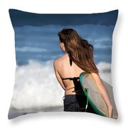 Surfer Girl Throw Pillow by Michelle Wiarda
