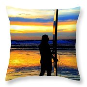 Surfer Sunset Throw Pillow by Douglas J Fisher