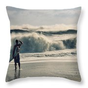 Surfer Watch Throw Pillow by Laura Fasulo