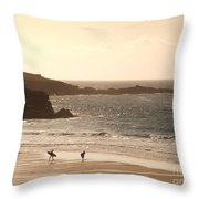 Surfers On Beach 03 Throw Pillow by Pixel Chimp