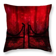 Surreal Fantasy Gothic Red Forest Crow On Gate Throw Pillow by Kathy Fornal
