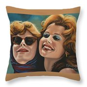 Susan Sarandon And Geena Davies Alias Thelma And Louise Throw Pillow by Paul Meijering