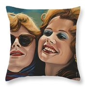 Susan Sarandon And Geena Davies Alias Thelma And Louise Throw Pillow by Paul Meijering