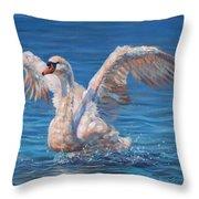 Swan Throw Pillow by David Stribbling
