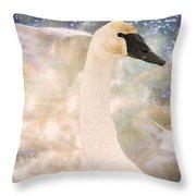 Swan Journey Throw Pillow by Kathy Bassett