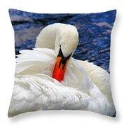 Swan Lake Throw Pillow by Mariola Bitner