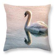 Swan On Lake Throw Pillow by Pixel  Chimp
