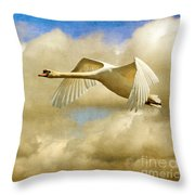 Swan Song Throw Pillow by Lois Bryan