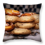Sweet - Cookies - Cookies and Danish Throw Pillow by Mike Savad