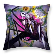 Sweet Loving Dreams In Halloween Night Throw Pillow by Alessandro Della Pietra