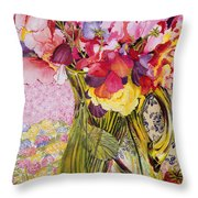 Sweet Peas With Cherries And Strawberries Throw Pillow by Joan Thewsey