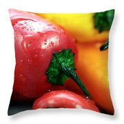Sweet Peppers Throw Pillow by John Rizzuto