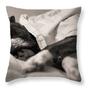 Sweet Sleeping Boxer Throw Pillow by Stephanie McDowell