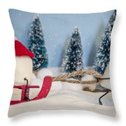 Sweet Sleigh Ride Throw Pillow by Heather Applegate