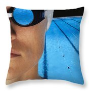 Swimmer With Goggles Throw Pillow by Don Hammond