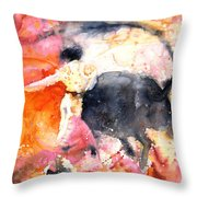 Swinging Yellow And Pink Throw Pillow by Miki De Goodaboom