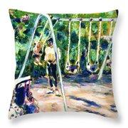 Swings Throw Pillow by Faye Cummings