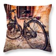 Swiss Bicycle Throw Pillow by Debra and Dave Vanderlaan