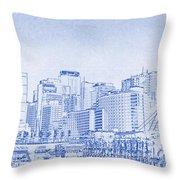 Sydney's Cockle Bay Blueprint Throw Pillow by Kaleidoscopik Photography