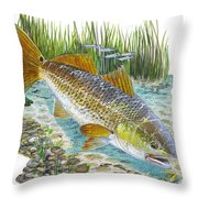 Tailing Red Throw Pillow by Carey Chen