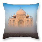 Taj Mahal In The Mist Throw Pillow by Inge Johnsson