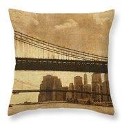 Tale of Two Bridges Throw Pillow by Joann Vitali