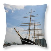 Tall Ship Mushulu At Penns Landing Throw Pillow by Bill Cannon