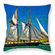 Tall Ship paint  Throw Pillow by Steve Harrington